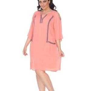 Plus Size Coral Midi Dress PS863-05